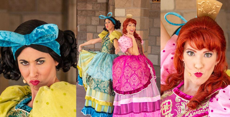Cinderella's evil stepsisters, outside under the Princess Fairytale Hall signage.