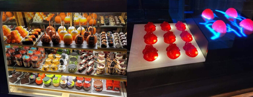 Speciality desserts, from chocolate, to cake to gummies.