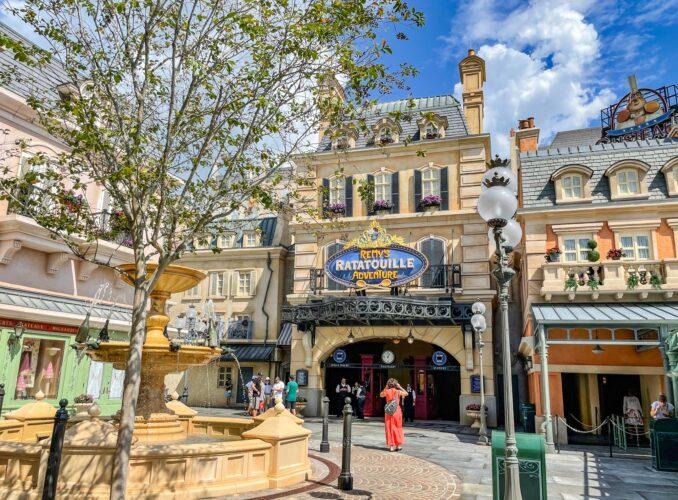 Remy's Ratatouille Adventure entrance facade in the new Epcot Ratatouille area.