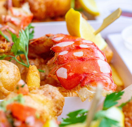 Close up on fried lobster meal.