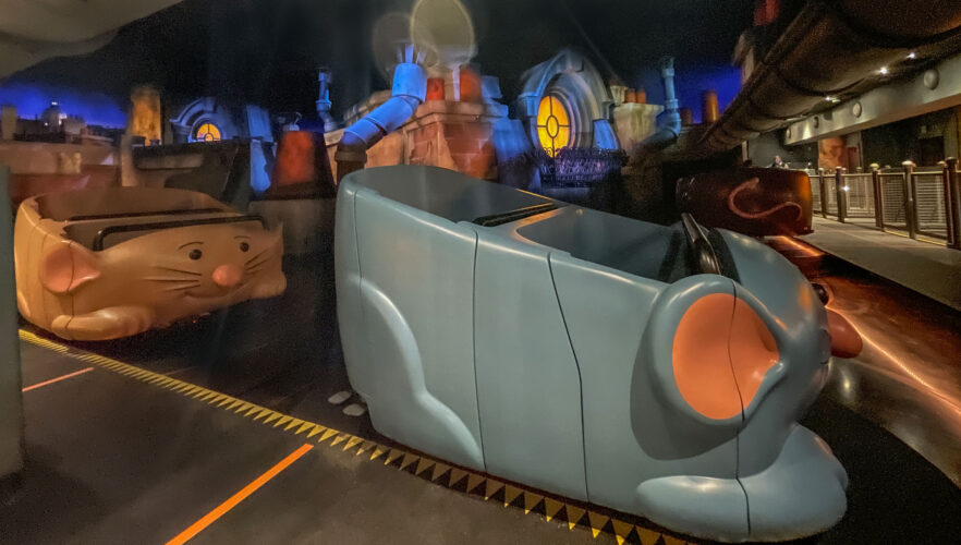 Ride vehicles for Remy's Ratatouille Adventure.