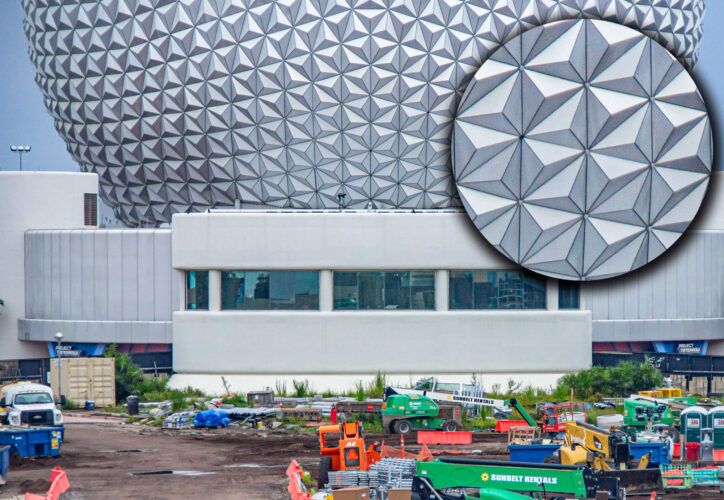 A close-up on the installation of Spaceship Earth's new lights.