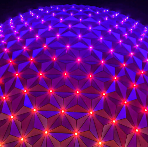 """Spaceship Earth's new lights can change color and """"connect"""" to each other."""