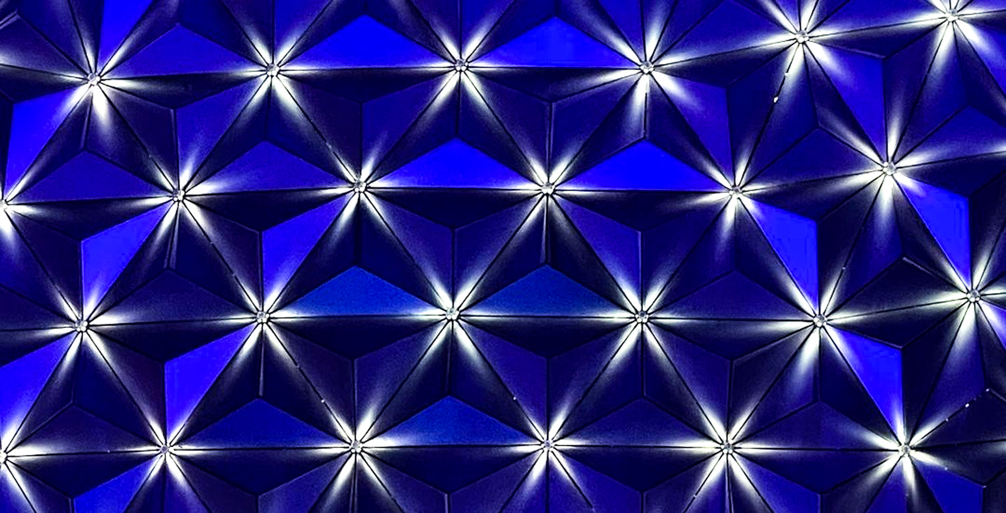 Spaceship Earth's new lights glow bright.