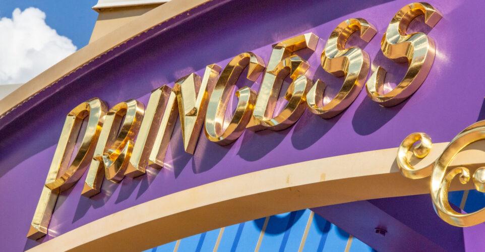 Princess Fairytale Hall gold signage.