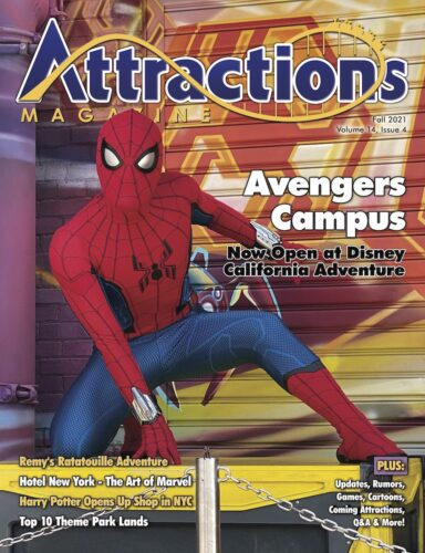 Fall 2021 issue of Attractions Magazine with Spider-Man in Avengers Campus on the cover.