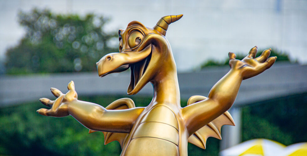 Figment fab 50 Statue at Epcot.