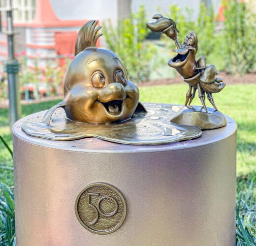 Sebastian and Flounder Disney golden statue
