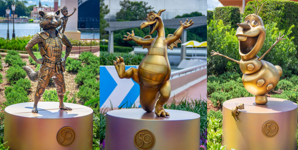 Rocket, Groot, Figment, Olaf and Bruni golden character statues at Epcot.