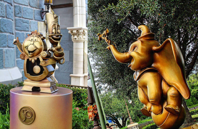 Cogsworth, Lumiere, Dumbo and Timothy Q. Mouse are in the Magic Kingdom Hub.