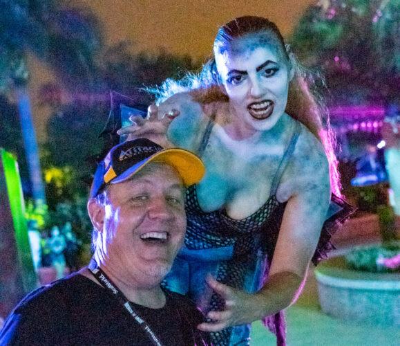 A selfie with a stilt-walker at Howl-O-Scream Orlando.