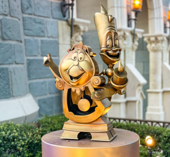 Cogsworth and Lumiere Disney fab 50 golden statues