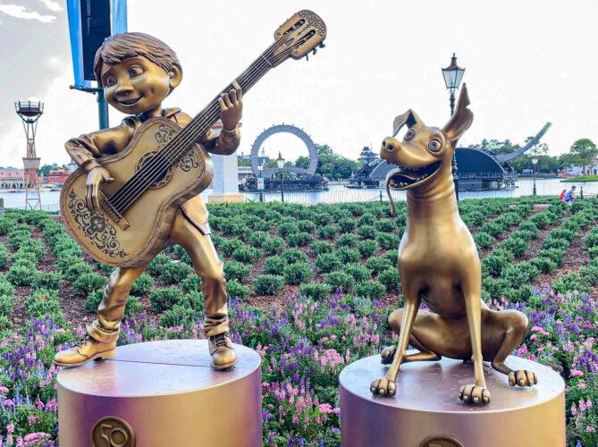Miguel and Dante Disney golden statues