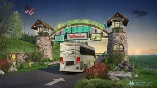 Camp Margaritaville's main entrance for the proposed Central Florida location.